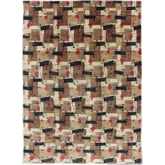 Mid-Century Modern Rug with Jagged Stripes and Blocks Design in Brown and Red