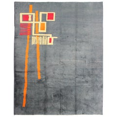 Mid-Century Modern Rug with Minimalist Design in Gray Blue Background