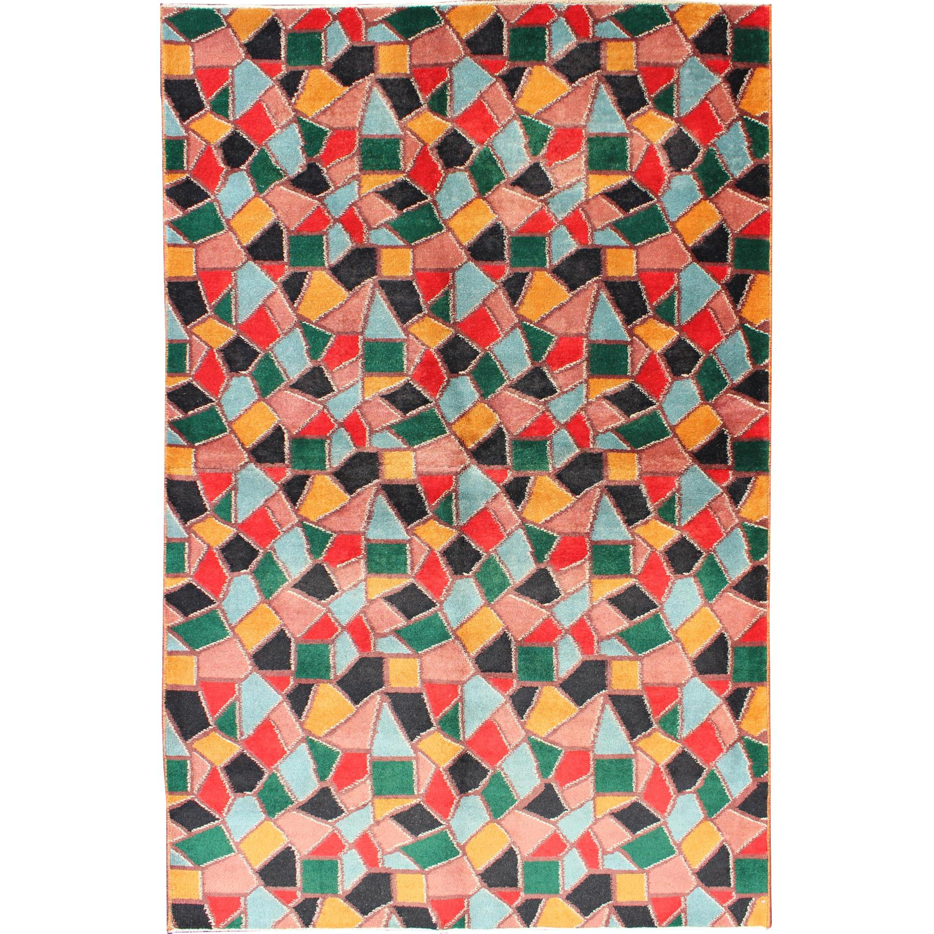Mid-Century Modern Rug with Mosaic Design in Red, Yellow, Pink, Blue and Green