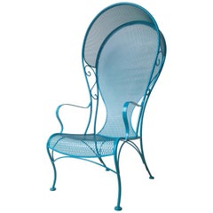 Mid-Century Modern Russell Woodard New Blue Wrought Iron Canopy Patio Chair