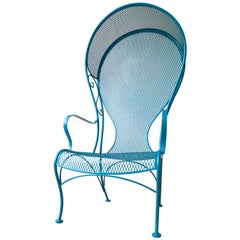 Russell Woodard Wrought Iron Canopy Patio Chair Newly Painted Lagoon Blue