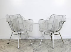 Mid Century Modern Russell Woodard Sculptura Pair Outdoor Patio Armchairs 1960s