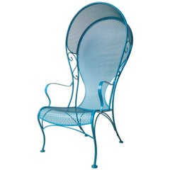 Mid-Century Modern Russell Woodard Wrought Iron Canopy Patio Chair in Blue