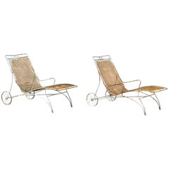 Mid-Century Modern Russell Woodard Wrought Iron Patio Chaise Lounge Chair, Pair