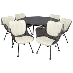 Mid-Century Modern Russell Woodward Mesh and Slate Dining Set, circa 1960