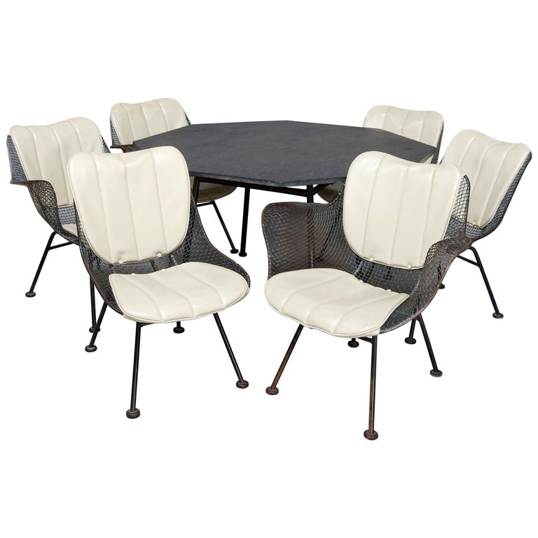 Mid-Century Modern Russell Woodward Mesh and Slate Dining Set, circa 1960 For Sale