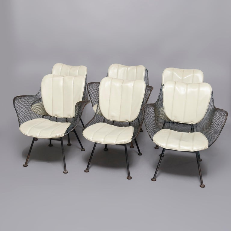 American Mid-Century Modern Russell Woodward Mesh and Slate Dining Set, circa 1960 For Sale
