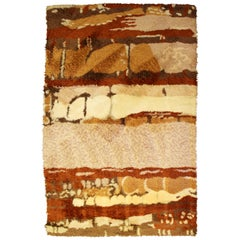 Mid-Century Modern Rust Brown Cream Rectangular Danish Rya Shag Area Rug, 1960s