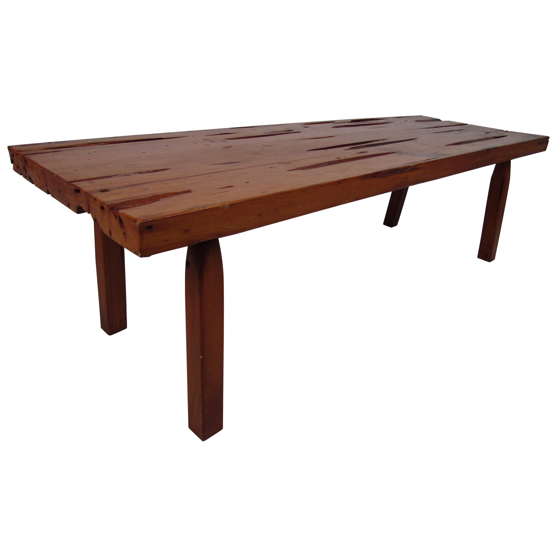 Mid-Century Modern Rustic Live Edge Coffee Table