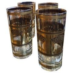 Mid-Century Modern S/4 Briard Style Gilt Wheat Sheath Theme Cocktail Glasses
