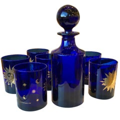 """Set of 6 Glasses and Decanter Blue and Gold Culver """"Celestial"""" Pattern"""