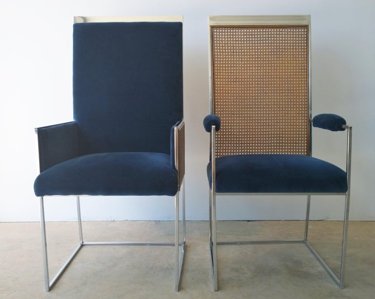 S/8 Milo Baughman New Light Blue & Navy Fabric Chrome & Cane Back Dining Chairs For Sale 10