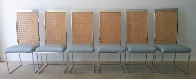 Mid-Century Modern S/8 Milo Baughman New Light Blue & Navy Fabric Chrome & Cane Back Dining Chairs For Sale