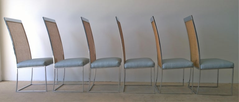 S/8 Milo Baughman New Light Blue & Navy Fabric Chrome & Cane Back Dining Chairs In Good Condition For Sale In Houston, TX