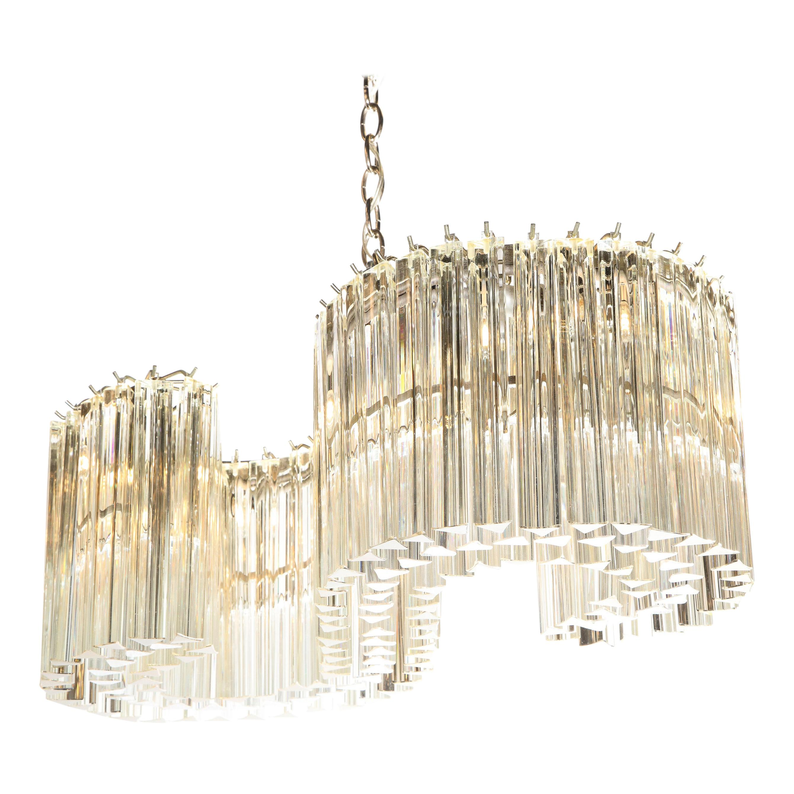 Mid-Century Modern S-Form Translucent Handblown Murano Glass & Chrome Chandelier
