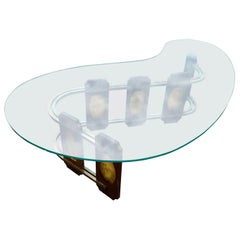 Mid-Century Modern S-Shaped Wood and Amber Colored Acrylic Cocktail Sofa Table
