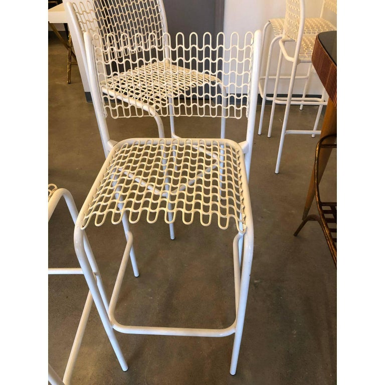 20th Century Set of 5 David Rowland for Thonet Sof-Tek White Patio Indoor/ Outdoor Bar Stools For Sale