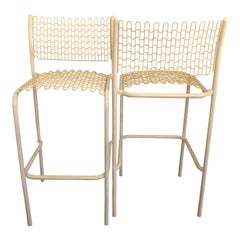 S/5 David Rowland for Thonet Sof-Tek White Patio Indoor/ Outdoor Bar Stools