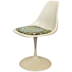 Mid-Century Modern Saarinen Style White Tulip Side Chair by Burke 1960s
