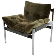 Mid-Century Modern Safari Lounge Chair with Olive Green Velvet