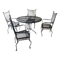 Mid-Century Modern Salterini Patio Set Table with Four Chairs