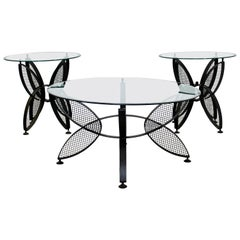 Mid-Century Modern Salterini Set Butterfly Patio Tables Coffee Pair Side, 1960s
