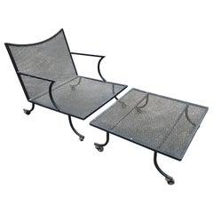 Mid-Century Modern Salterini Style Lounge and Ottoman, Black Wrought Iron