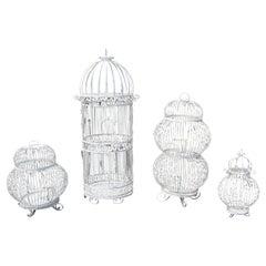 Mid-Century Modern Salterini Twisted Wrought Iron Patio Set of 4 Birdcages 1950s