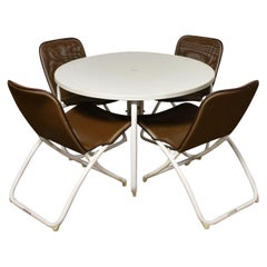 Mid-Century Modern Samsonite Round Patio Dining Table and 4 Folding Sling Chairs