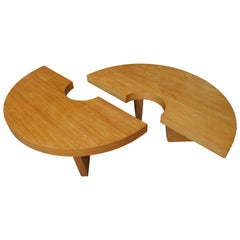 """Mid-Century Modern Satinwood """"Nuclear"""" Coffee Table Designed by Harvey Probber"""