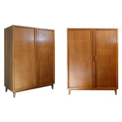 Mid-Century Modern Satinwood Wardrobe with Shelves and Draws Style Gio Ponti