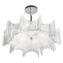 Mid-Century Modern Scalloped Ice Glass Chandelier with Chrome Fittings by Kalmar
