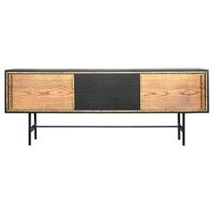 Mid-Century Modern Scandinavian Ash Sideboard with Black Panel, 1960s