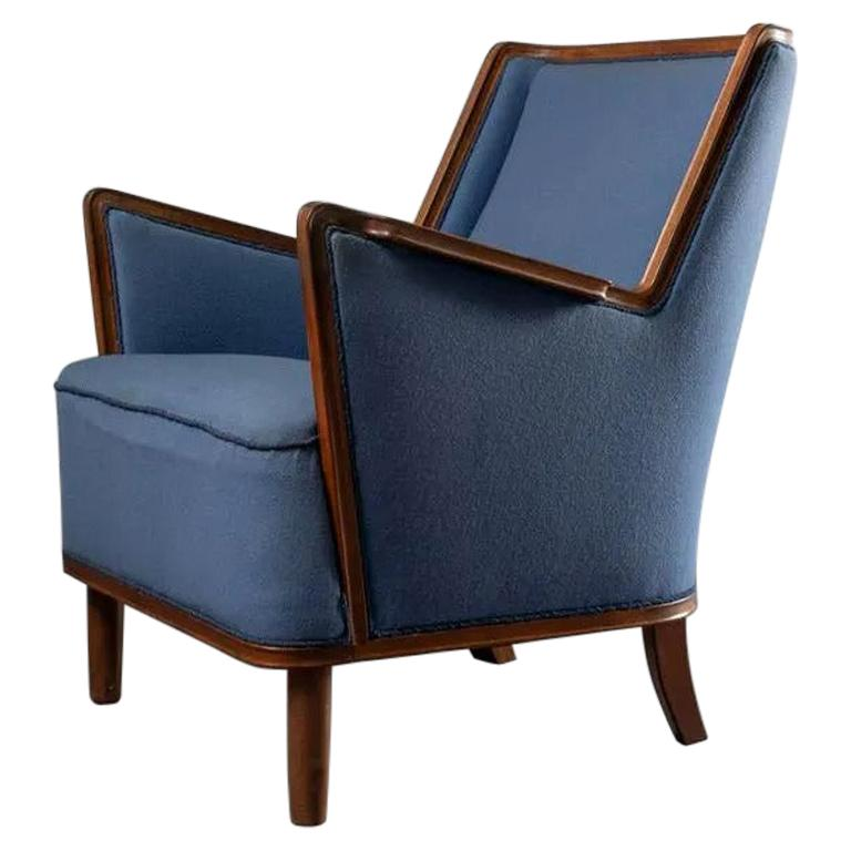 Mid-Century Modern Scandinavian Blue Upholstery Lounge Chair