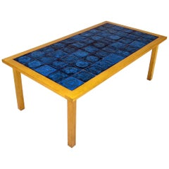 Mid-Century Modern Scandinavian Ceramic and Teak Coffee Table, 1960s