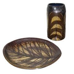Mid-Century Modern Scandinavian Ceramic Vase and Tray Upsala-Ekeby