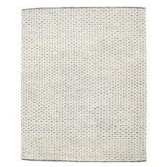 Mid-Century Modern Scandinavian Design Textural Ivory Geometric Goteborg Rug