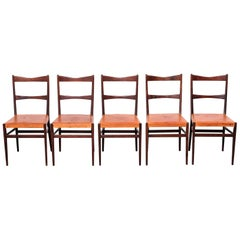 Mid-Century Modern Scandinavian Dining Chairs by Karl-Erik Ekselius, Set of Five