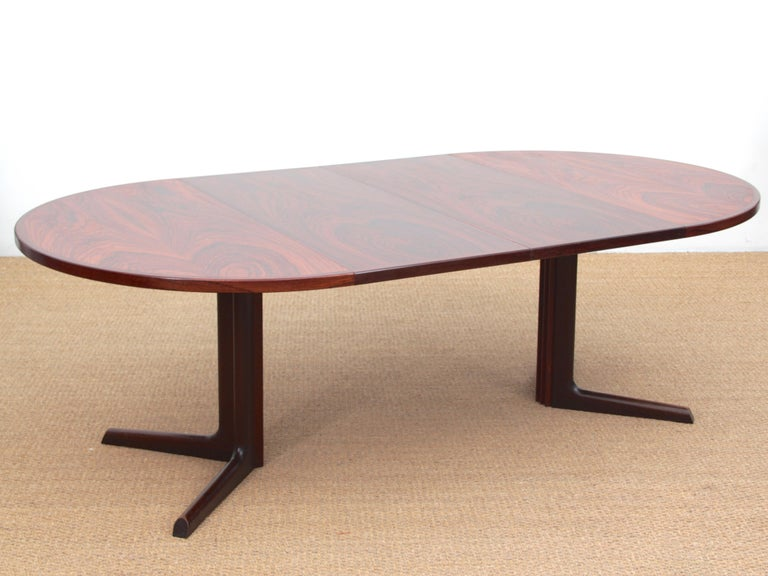 Mid-Century Modern Scandinavian Dining Table from Gudme Møbelfabrik in Rosewood In Good Condition In Courbevoie, FR