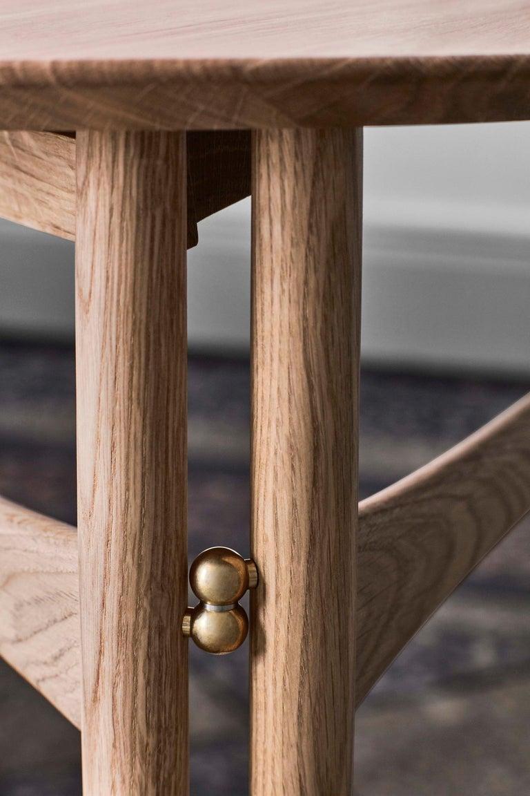 Brass Mid-Century Modern Scandinavian Drop Leaf Side Table in Oak For Sale