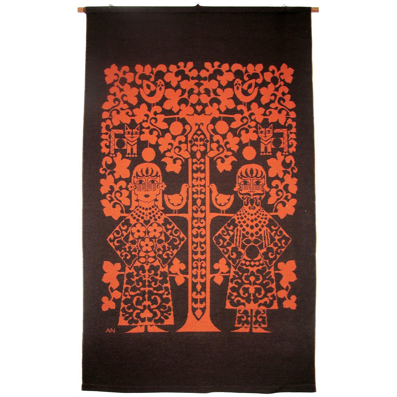 Mid-Century Modern Scandinavian Jacquard Wall Tapestry
