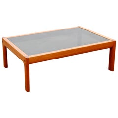Mid-Century Modern Scandinavian Large Coffee Table in Teak and Black Glass