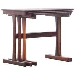 Mid-Century Modern Scandinavian Nesting Tables in Rosewood
