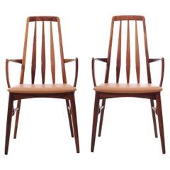 Mid-Century Modern Scandinavian Pair of 2 Armchairs in Rosewood Model Eva