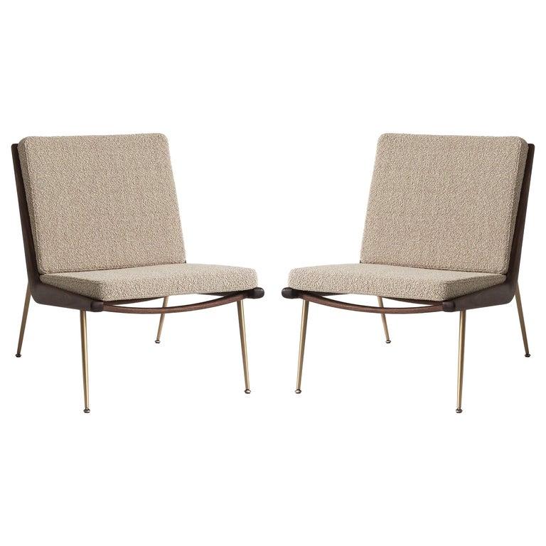 Mid-Century Modern Scandinavian Pair of Boomerang Lounge Chair For Sale