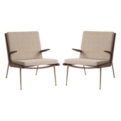 Mid-Century Modern Scandinavian Pair of Boomerang Lounge Chair with Armrest