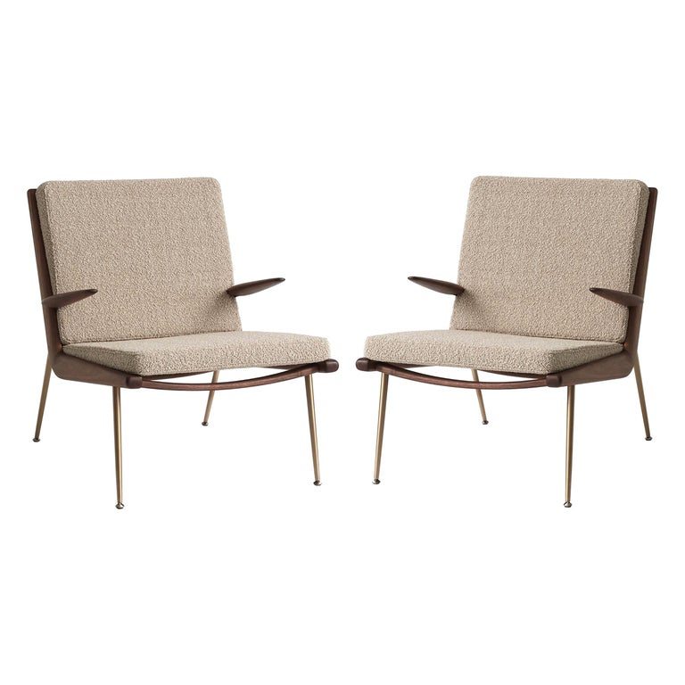 Mid-Century Modern Scandinavian Pair of Boomerang Lounge Chair with Armrest For Sale