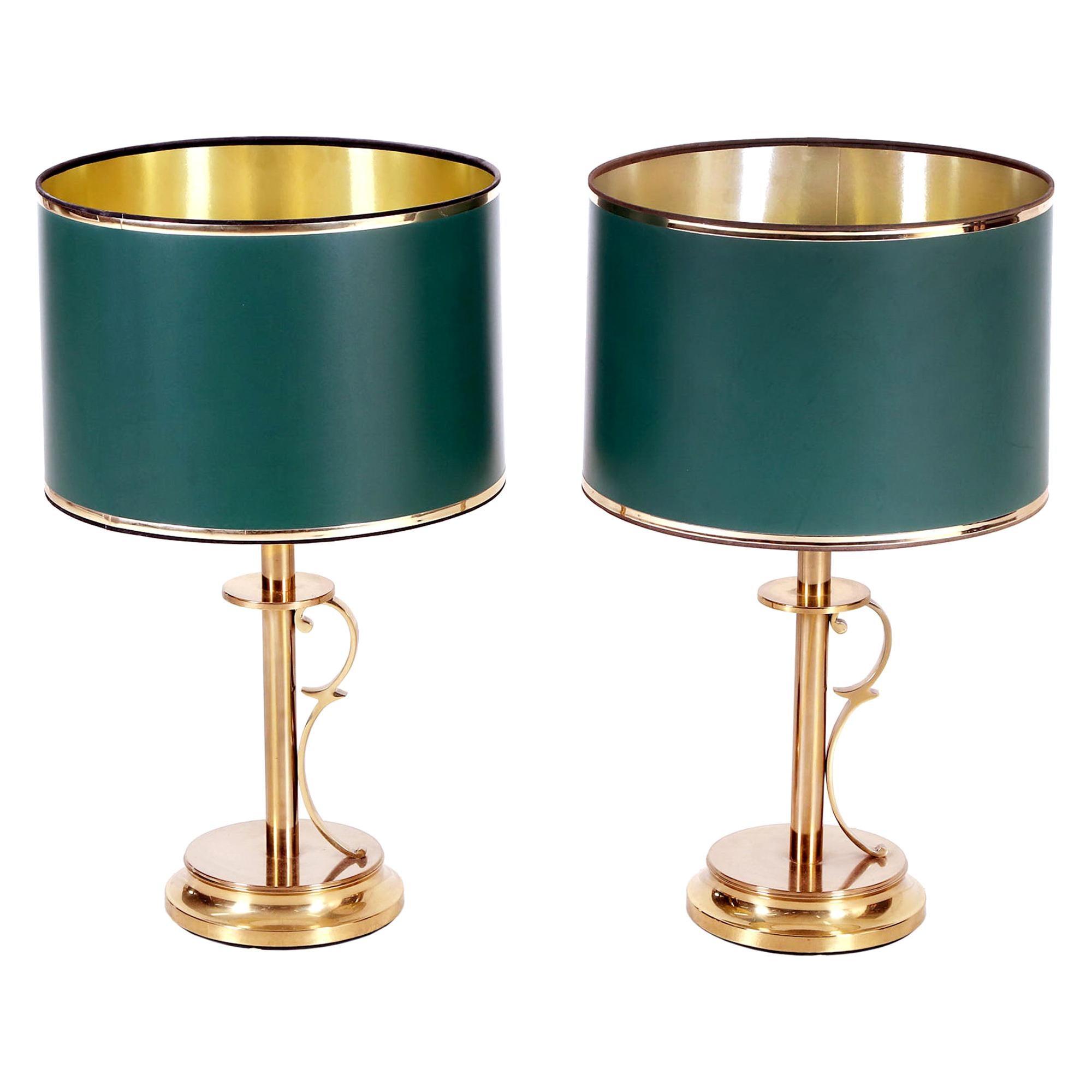 Mid-Century Modern Scandinavian Pair of Brass Table Lamps by Tranas Stilarmatur