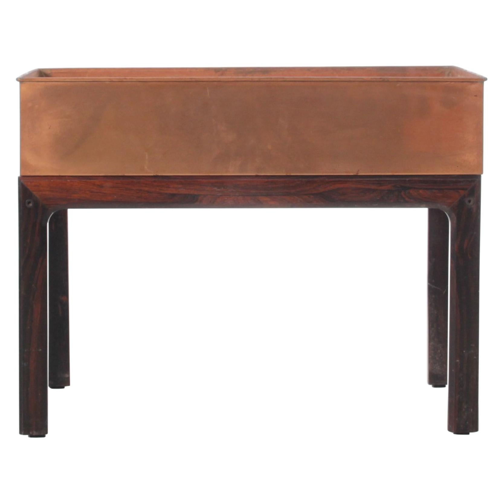 Mid-Century Modern Scandinavian Planter in Rosewood and Copper by Iversen