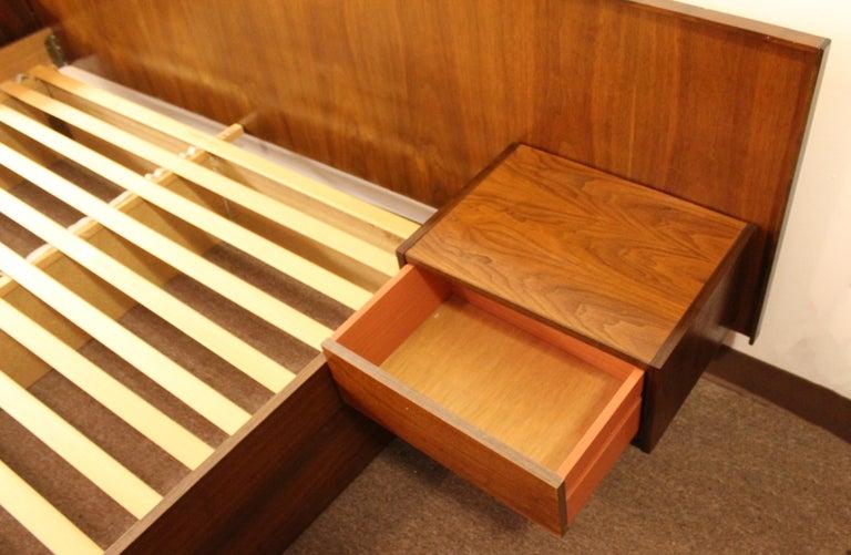 Mid Century Modern Scandinavian Platform Queen Bed With